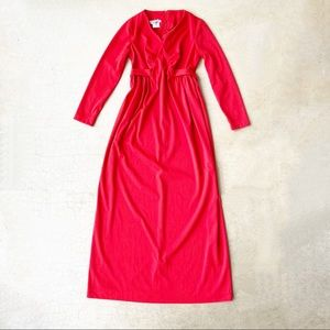 Vintage Jeanette Red Empire Long Sleeve Maxi Dress